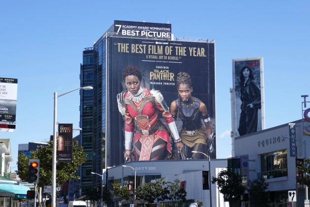 Giant Black Panther Oscar nominee billboard Sunset Strip