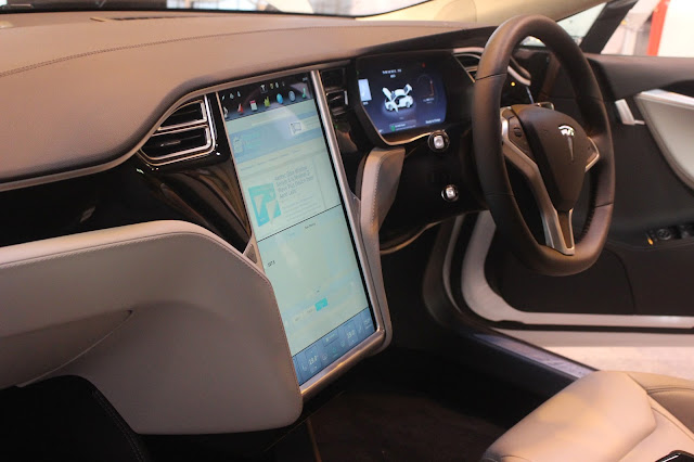 Photgraph of the interior of the Tesla Model S