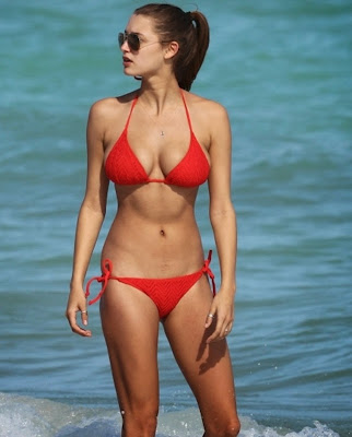 Alyssa Arce in red bikini on the beach