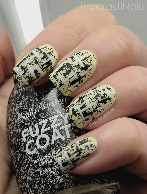 Tweed nail art with a soft yellow base, bar glitter and black and white lines