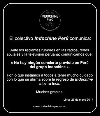 Las desinformaciones sobre el regreso de Indochine a Perú