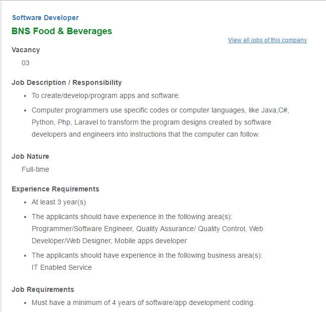 BNS Food \ Beverages - Post Title Software Developer - Job Circular - software developer job description