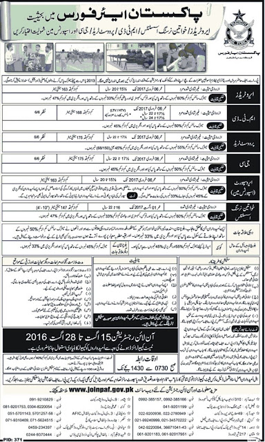 Latest Govt Jobs in Pakistan Air Force Jobs 2016