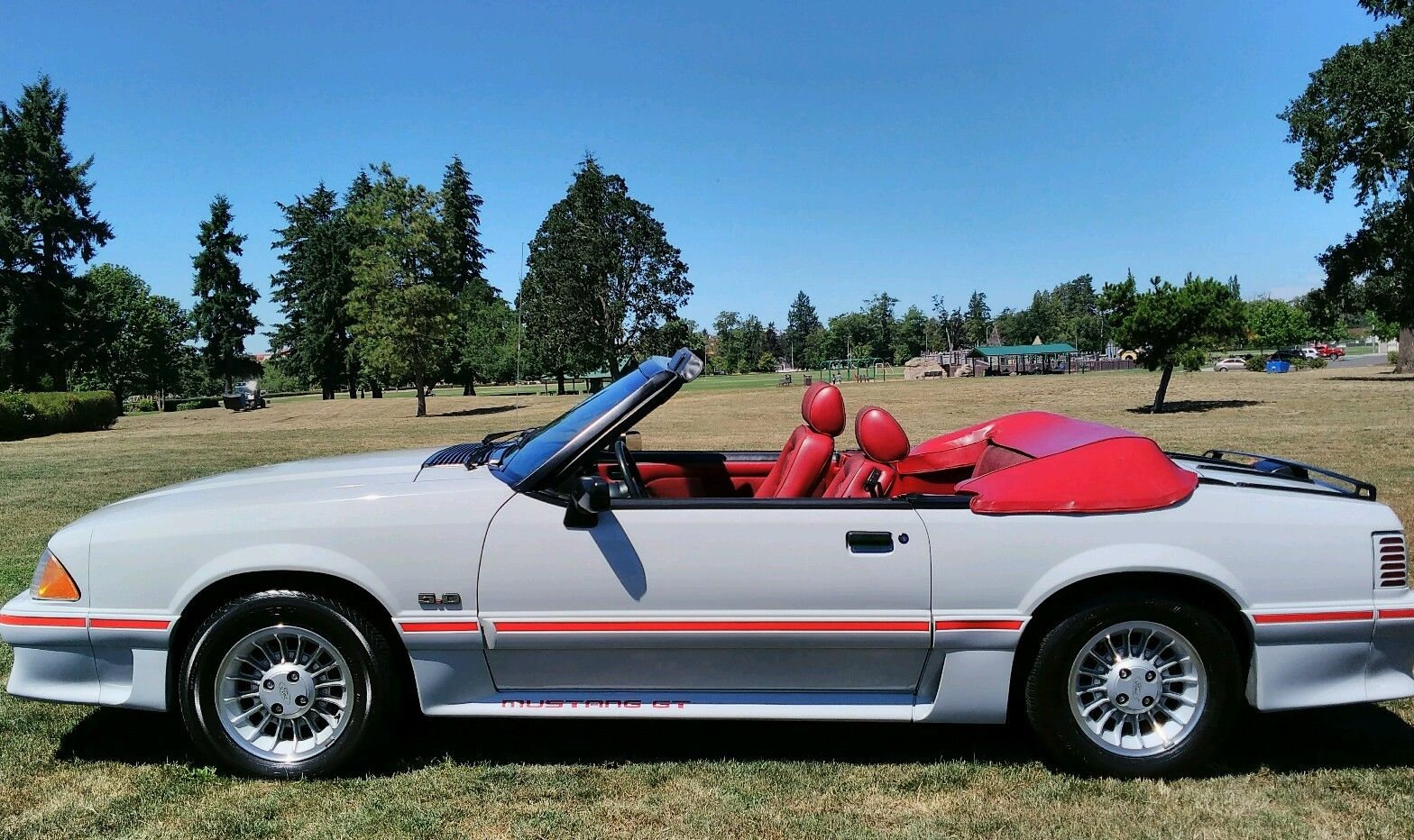 1989 ford mustang cobra gt mustang convertible 5 0 v8 foxbody ultra rare dove gray color with red interior