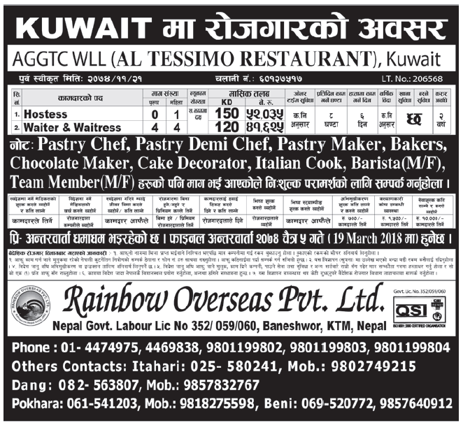 Jobs in Kuwait for Nepali, Salary Rs 52,,035