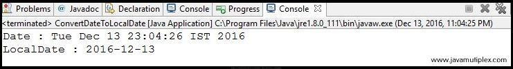 Output of Java program that converts Date to LocalDate.