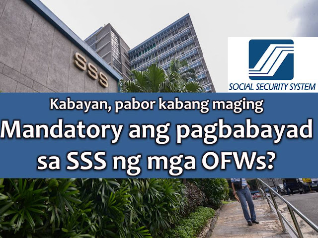 With the implementation of a pension hike for the retirees of Social Security System or SSS, the agency is now asking help from the lawmakers to implement the mandatory coverage of migrant workers.  SSS president and chief executive officer Emmanuel Dooc said the mandatory coverage of overseas Filipino workers will help the agency to achieve its goal of expanding membership at the same time, will give protection and benefits to OFWs too.