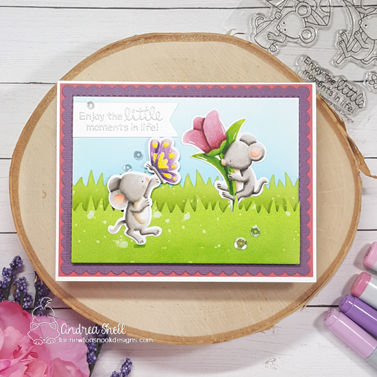 Mouse Card by Andrea Shell | Garden Mice Stamp Set, Land Borders Die Set, and Frames & Flags Die Set by Newton's Nook Designs #newtonsnook #handmade