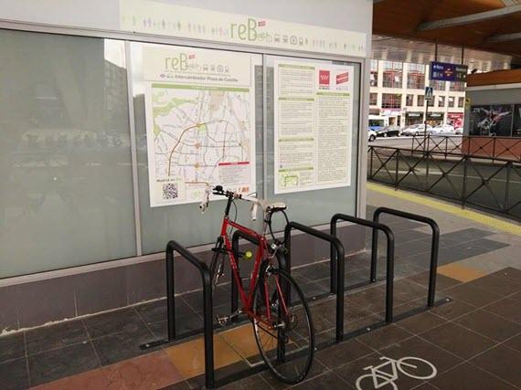 Calles recomendadas para llegar en bici al aparcabicis del Intercambiador de Plaza de Castilla