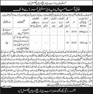 Jobs In Irrigation Department Govt of Punjab Faisalabad February 2018