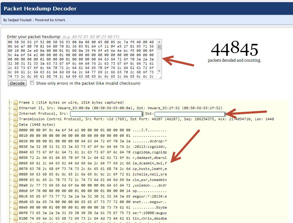 IAM IDM: Wireshark Packet Data Decoding Online Tool