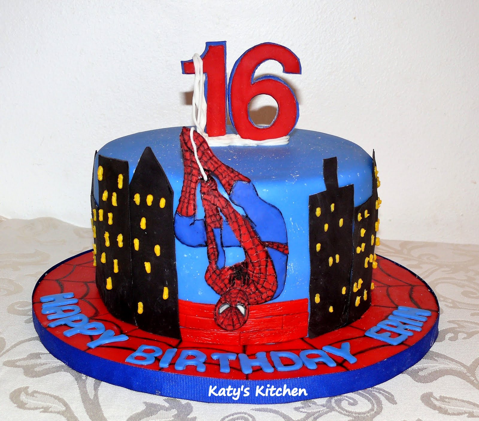 Outstanding Katys Kitchen Spider Man Birthday Cake For A 16 Year Old Funny Birthday Cards Online Alyptdamsfinfo