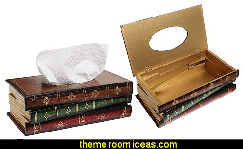 Antique Book Design Wood Bathroom Facial Tissue Dispenser Box Cover  book themed decor - Bibliophiles decor - Book themed furnishings - home decor for book lovers - book themed bedroom -  Stacked Books decor -  Stacked Books furniture - bookworm decor -  book boxes - library furniture - formal study furniture - antique book decor -