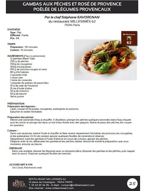 recette Gambas aux pêches et rosé de provence, poêlée de légumes provinçaux