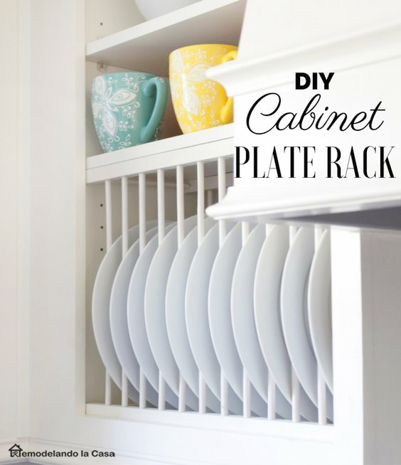 how to install a plate rack inside a cabinet with face frame