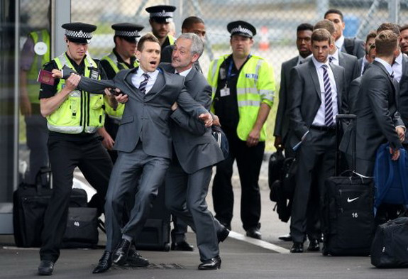 Prankster Simon Brodkin infiltrates England's World Cup send-off by dressing as player