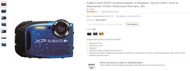 Fujifilm FinePix XP80 Fotocamera Digitale, 16 Megapixel, Sensore CMOS, Zoom 5x, Impermeabile 15 Metri, Stabilizzatore Meccanico, Blu