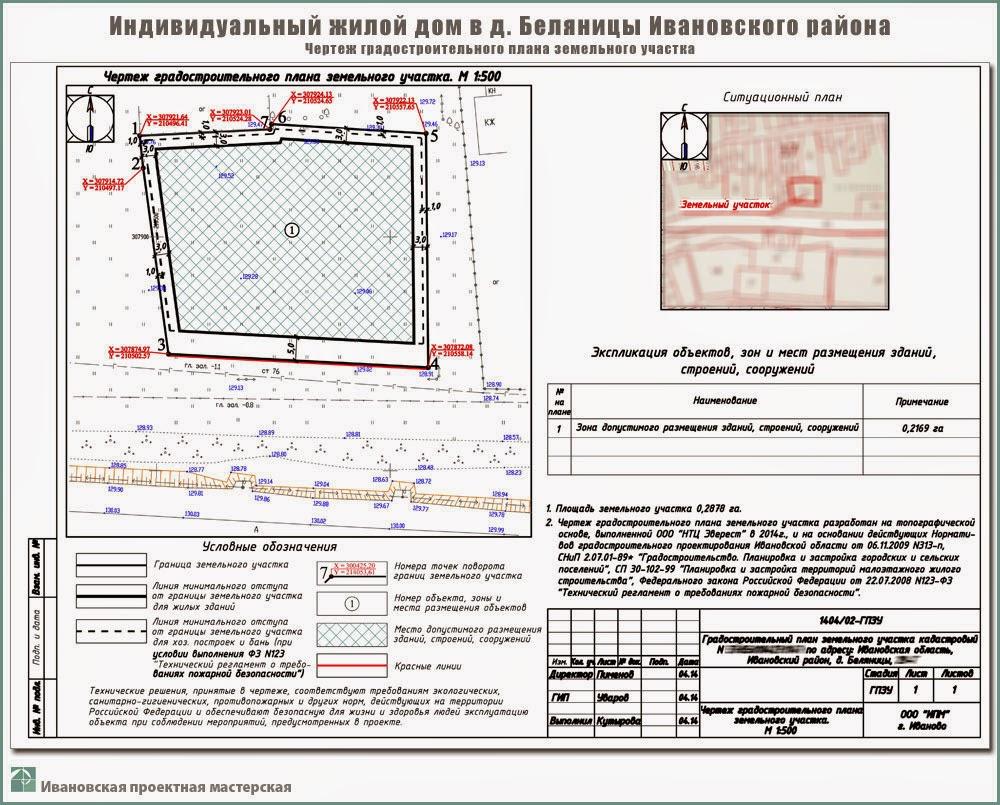 Проект одноэтажного жилого дома в пригороде г. Иваново - д. Беляницы Ивановского района. ГПЗУ