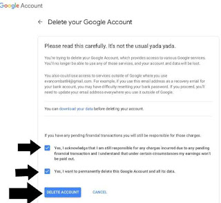 Hapus google akun permanen di PC