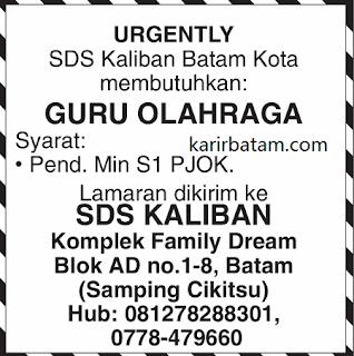 Lowongan Kerja SDS Kaliban Batam (Januari 2018)