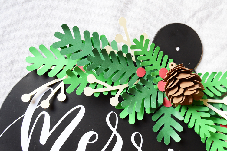 Paper pine swag and 3d pinecone