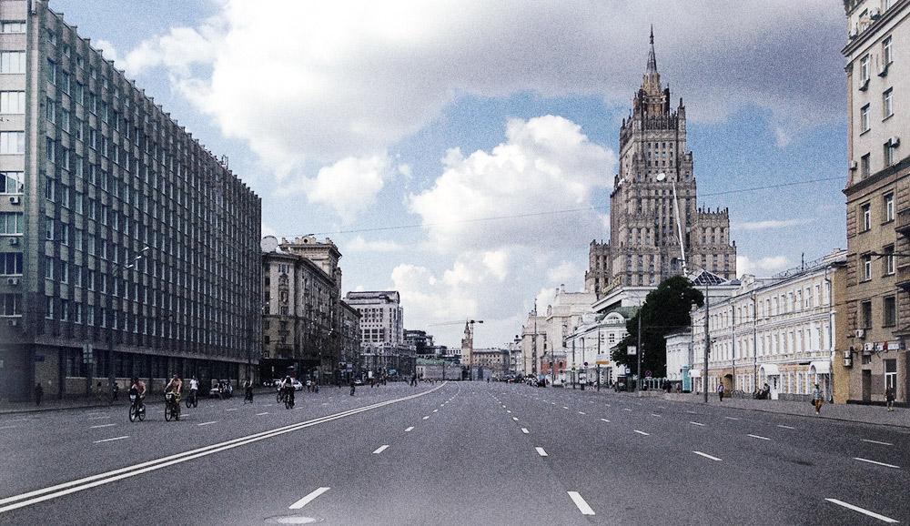 Der für den motorisierten Verkehr gesperrte Gartenring am Außenministerium am 29. Mai 2016