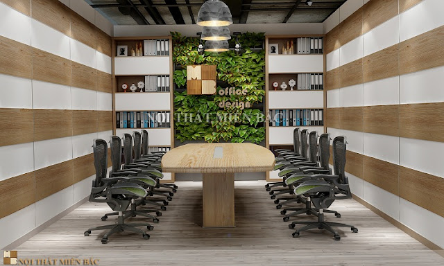 Để thiết kế phòng họp thêm ấn tượng hơn, các công ty có thể bố trí thêm cây xanh giúp đem đến môi trường làm việc thoải mái và dễ chịu hơn