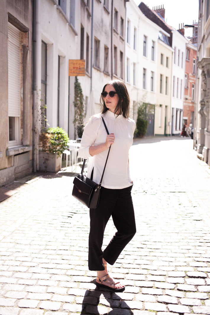 Outfit: professional in Tevas and high neck Object blouse