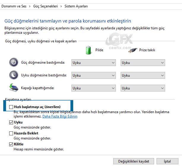 windows Hızlı başlatmayı aç-www.ceofix.com