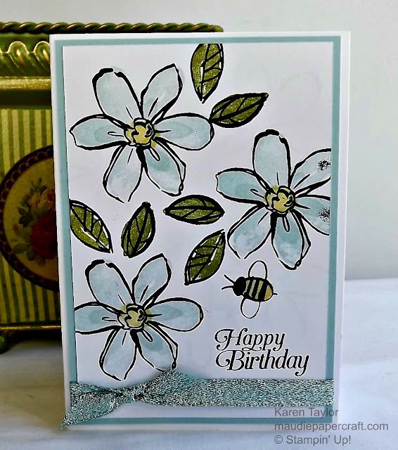 Stampin' Up! Garden In Bloom card in soft sky