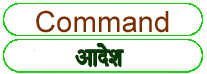 Command  meaning in HINDI
