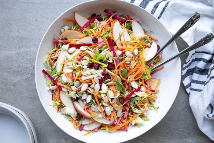 SHREDDED BRUSSELS SPROUT SALAD WITH CHICKEN AND BEETS