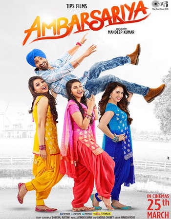 Poster Of Ambarsariya 2016 Punjabi 160MB DVDRip HEVC Mobile ESubs Watch Online Free Download Worldfree4u
