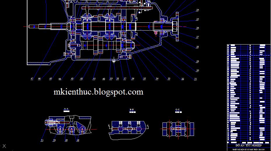 Bản vẽ đồ án tính toán thiết kế hộp số cơ khí trên xe oto con