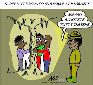 deficit, lettera commissione, renzi, migranti, terremoto, economia, vignetta, satira