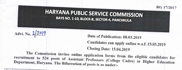Haryana Public Service Commission Recruitment For 524 Posts Of Assistant Professors