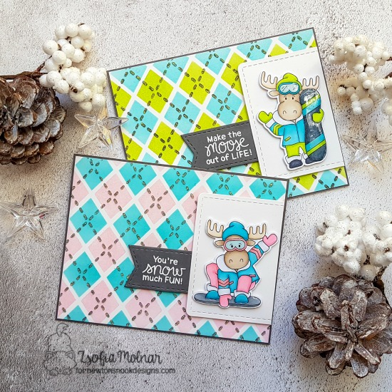 Snowboard Moose Cards by Zsofia Molnar | Mouse Mountain Stamp Set and Argyle Stencil Set by Newton's Nook Designs #newtonsnook #handmade