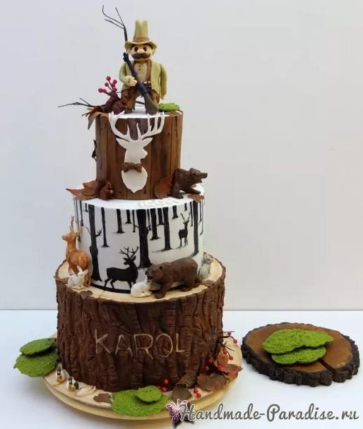 3D торт лесной тематики из сахарной мастики (15)