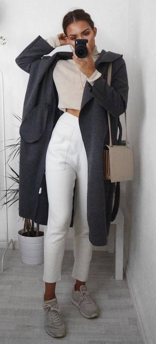 amazing outfit idea: grey coat + top + pants + bag