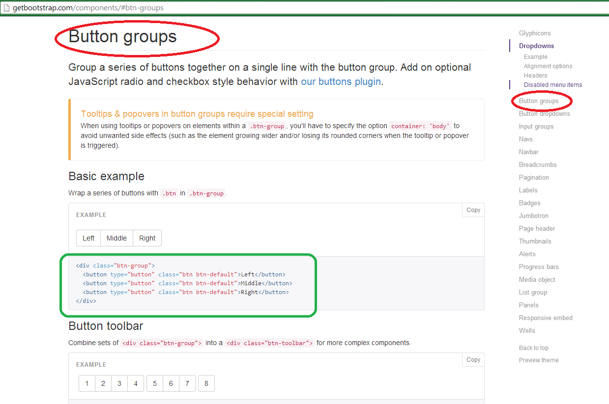BOOTSTRAP BUTTON GROUP LEFT AND RIGHT - The ASP NET MVC Club