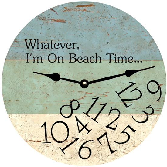 Beach Wall Clock with Quote