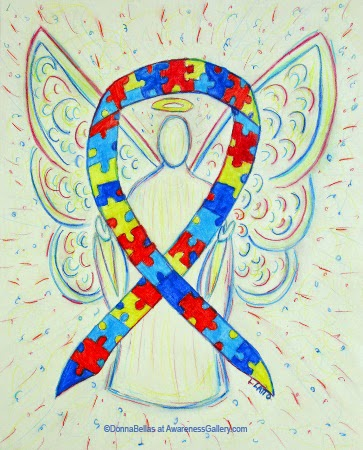 Puzzle Piece Awareness Ribbon Angel Art Painting Image