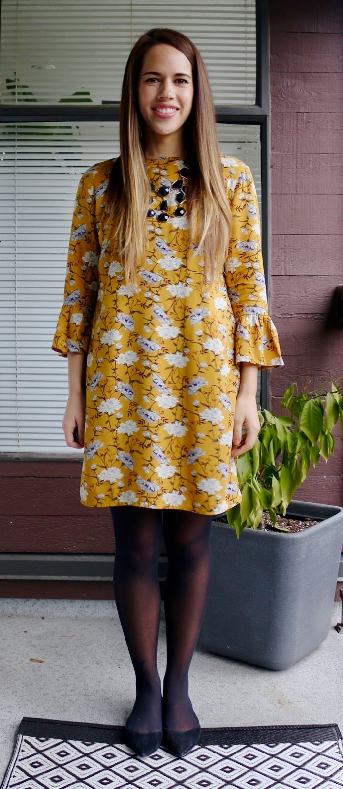 Jules in Flats - Yellow Ruffle Sleeve Shift Dress