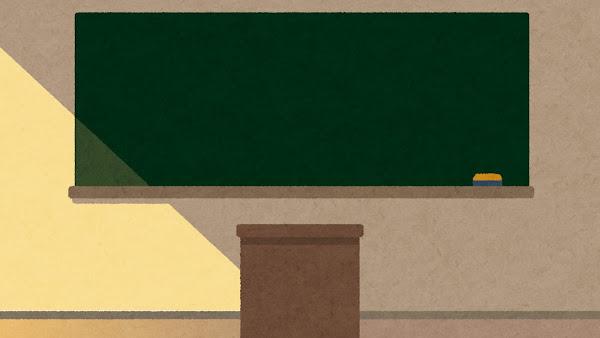 夕方の教壇のイラスト(背景素材)