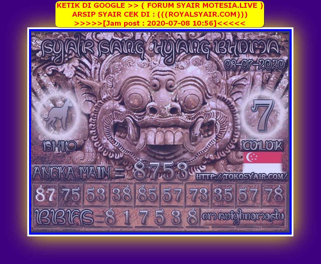 Kode syair Singapore Rabu 8 Juli 2020 118
