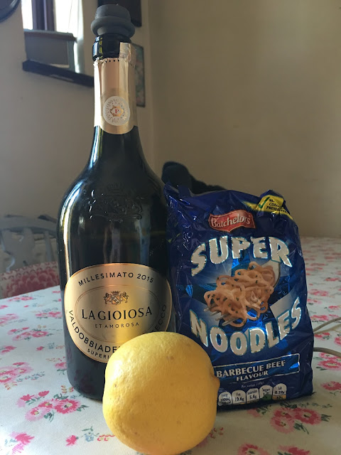 Prosecco and super noodles