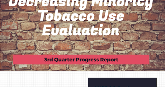 Tobacco Prevention EvaluationHIGHLIGHTS OF 3rd QUARTER PERFORMANCE FOR MISRGO and MISRGO GRANTEES MISRGO has reached their annual goals in the areas of Surveillance and Evaluation and Decreasing Initiation of Tobacco Among Youth and Young Adults. Over half of the grantees have met their milestones in three of the four CDC Intervention Areas. - 3rd Quarter Progress Report