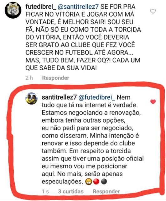 Santiago Trellez nega ter pedido pra sair e diz que está negociado sua renovação com o Vitória 2