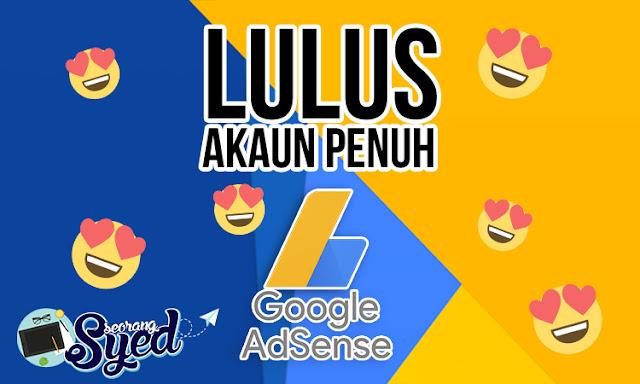 Lulus Akaun Penuh AdSense (Hosted Account)