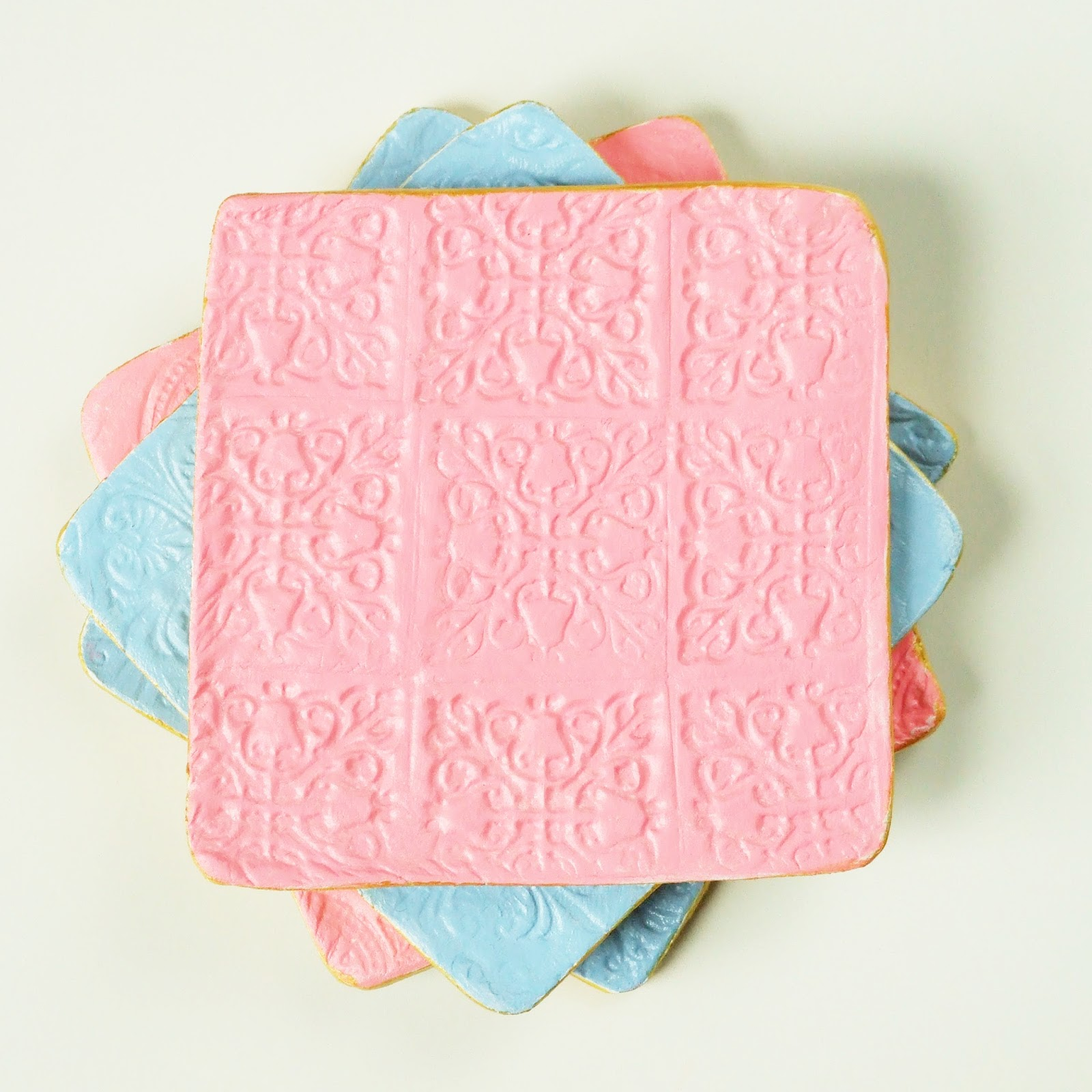 Diy Stamped Clay Coasters.